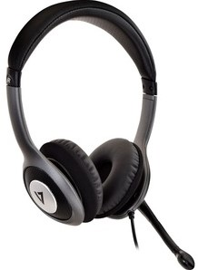 V7 HU521-2EP Wired Over-the-head, On-ear Stereo Headset - Black, Grey - Circumaural - 32 Ohm - 20 Hz to 20 kHz - 180 cm Cable - Noise Cancelling, Omni-directional Microphone - USB
