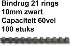 BINDRUG GBC 10MM 21RINGS A4 ZWART 100 STUK