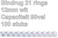 BINDRUG GBC 12MM 21RINGS A4 WIT 100 STUK