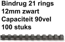 BINDRUG GBC 12MM 21RINGS A4 ZWART 100 STUK