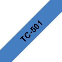 LABELTAPE BROTHER TC-501 12MMX8M BLAUW/ZWART 1 STUK