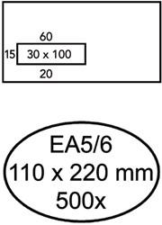 ENVELOP HERMES VENSTER EA5/6 VL 3X10 80GR ZK 500ST 500 STUK