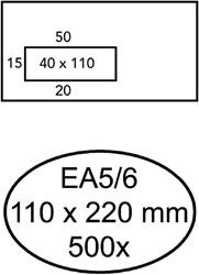 ENVELOP HERMES VENSTER EA5/6 VL V23 4X11 80GR ZK WIT 500 STUK