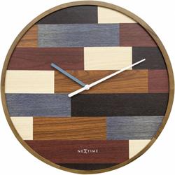 wandklok NeXtime dia. 45 patch hout bruinwijzer grijs - uurwerk stil