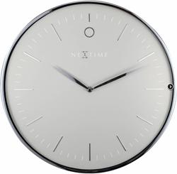 wandklok NeXtime dia. 40 glam metaal grijs/zilver wijzer zilver - uurwerk stil