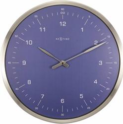 wandklok NeXtime dia. 33 Wandklok 60 Min. metaal blauw wijzer zilver - uurwerk stil